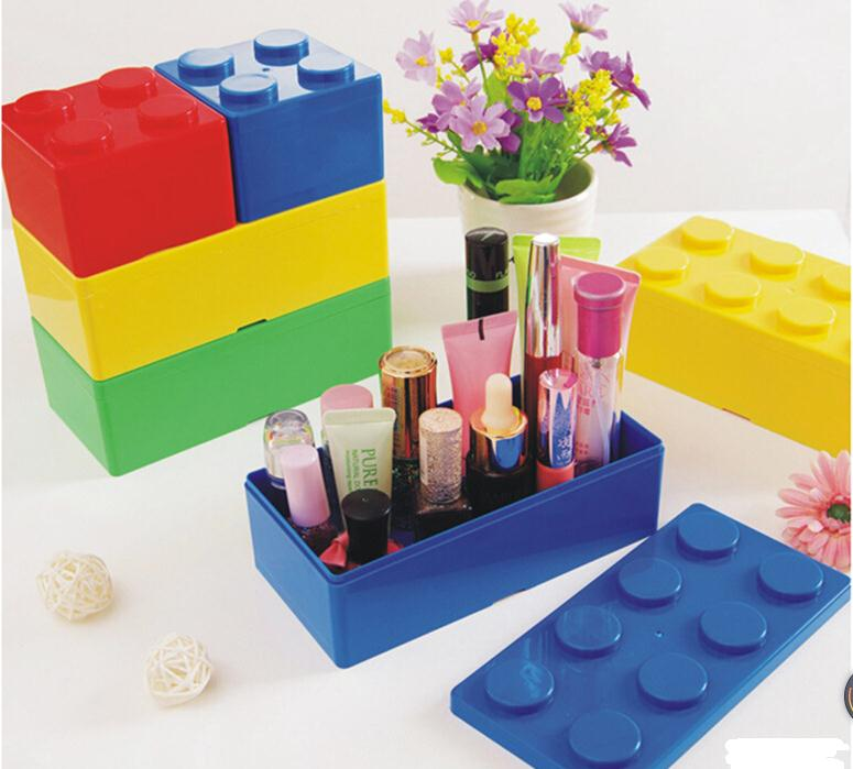 100pcs/lot L Size creative building blocks desktop storage box, womens cosmetics boxes, office stationery box SN1628