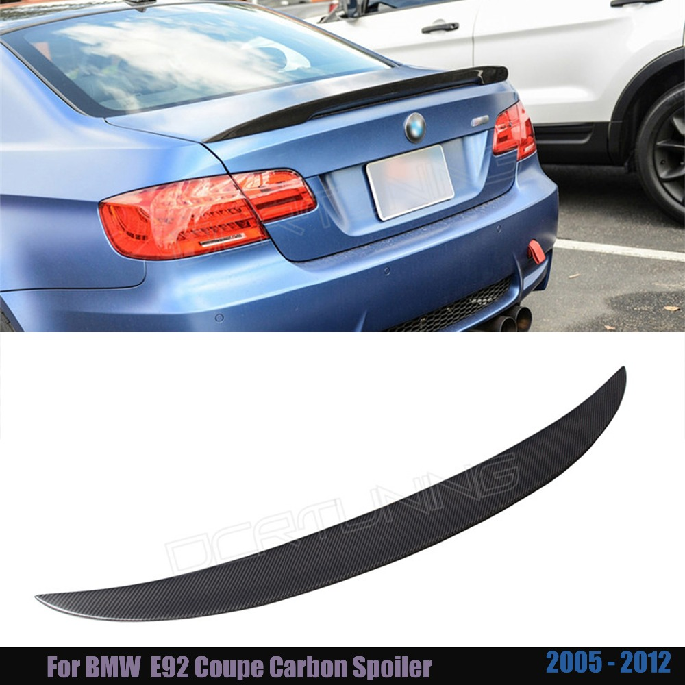 P Style For BMW E92 Spoiler 3 Series 2 Door E92 M3 and E92 Coupe Carbon Spoiler Performance Style 2005 - 2012 m performance style e92 coupe e93 cabriolet spoiler rear trunk wing for bmw 3 series 2 door 2006 2012 gloss black p style
