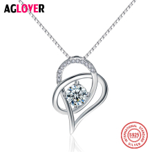 925 Sterling Silver Austria Crystals Heart Pendant Necklace Chain for Valentine's Day Gift of Love