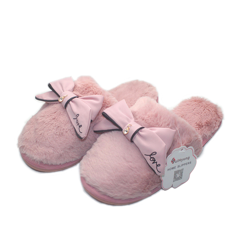 Suihyung Fashion Design Women 39 S Home Slippers With Big Bowknot Plush Warm House Slippers Indoor