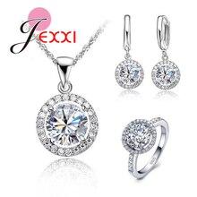 Подлинные 925 пробы серебряные ювелирные изделия Подсолнух кулон ожерелье серьги+ кольца Сияющий кубический цирконий для женщин Свадебные