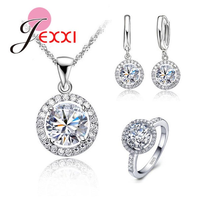 Genuine 925 Sterling Silver Jewelry Sun Flower Pendant Necklace Earrings+Rings Shining Cubic Zirconia For Women Bridal
