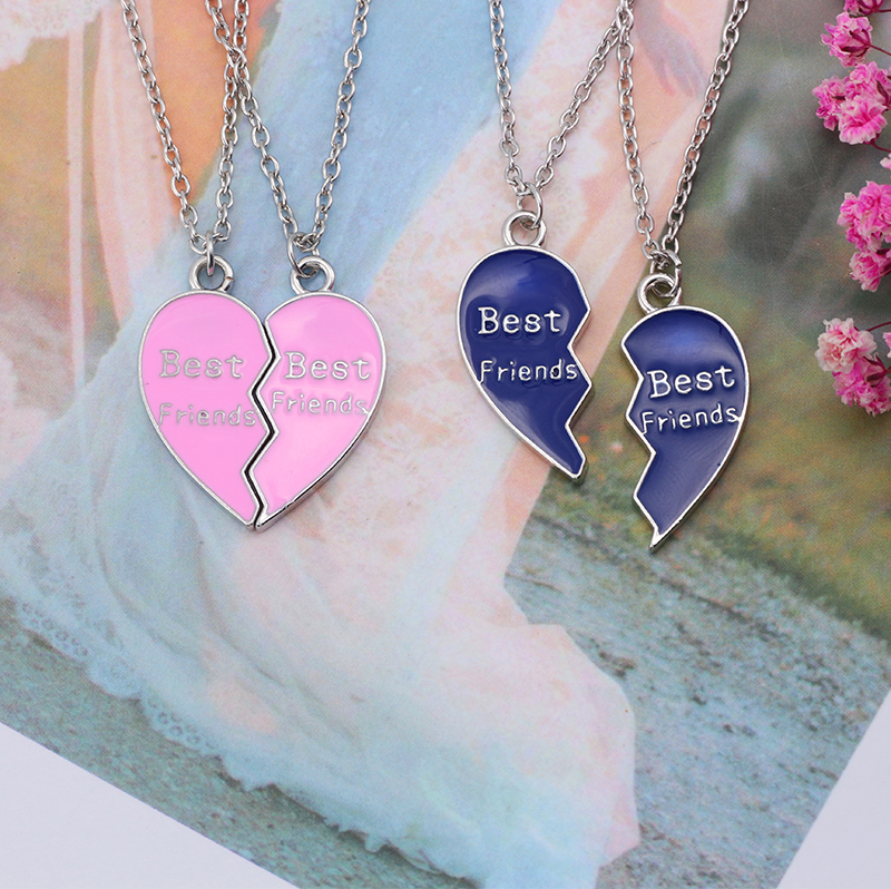 Best Friend Necklace Women Crystal Heart Tai Chi Crown Best Friends Forever Necklaces Pendants Friendship BFF Jewelry Collier 45