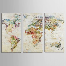 3 Pcs Set Abstract Color Map Canvas Paintings World Map Pictures Prints On Canvas Wall Art