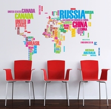 colorful letters world map wall sticker adhesivo vinyl wallpaper decals home livingroom office school classroom  salon decor