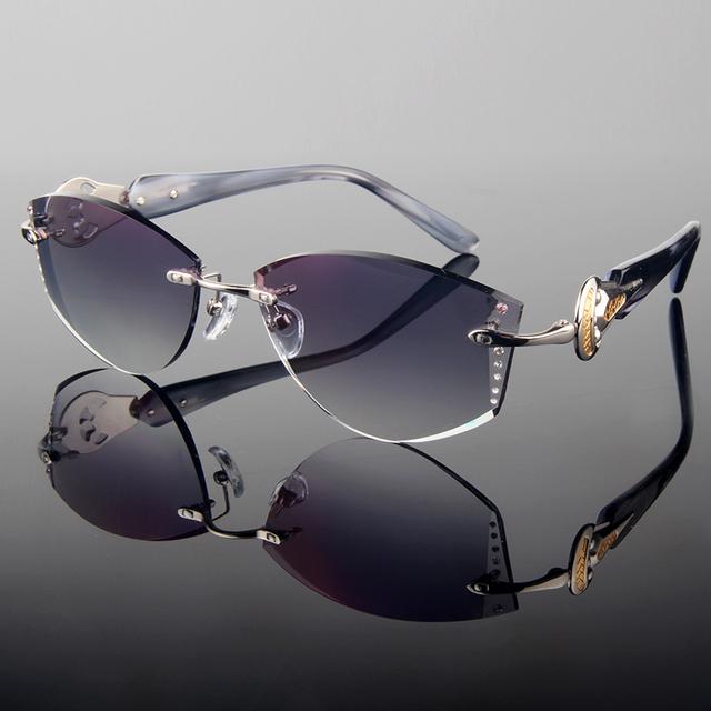 2015 estilo Verão corte cut sem aro óculos de grau Completos das mulheres da moda óculos de sol com Strass na lente/Frame De Prata