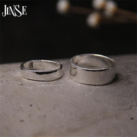 JINSE Fashion S999 Silver Rings Simple Design Men Wedding Rings Adjustble Size 4 30mm
