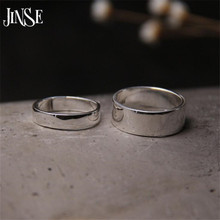 JINSE Fashion S999 Silver Rings Simple Design Men Wedding Adjustble Size 4.30mm