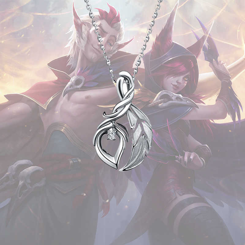 LOL XAYAH and RAKAN couple necklace 925 sterling silver necklace women  jewelry gifts for girls lovers necklaces pendants present