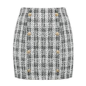 Image 5 - Mossha Elegant  tweed skirts womens 2019 Autumn winter Straight  plaid short skirt suit Vintage blazer Chic blazer skirt woman