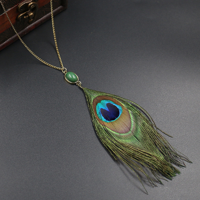 necklace peacock thread azilaa full pendant green feather at