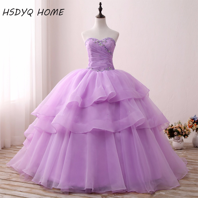 Light Purple Quinceanera Dresses Cheap Tiered Ball Gown Vestidos De 15 Anos Amazing Birthday Dresses Real Photos Prom Gowns