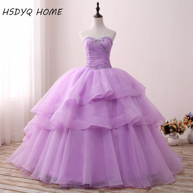 df122ecad4b Light Purple Quinceanera Dresses Cheap Tiered Ball Gown Vestidos De 15 Anos  Amazing Birthday Dresses Real Photos Prom Gowns