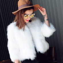 2017 Fur Faux Fur Coat Black White Fur Overcoat Imitation Rabbit Fur Faux Fox Short Style Outwear Coat Jacket 3/4 Sleeve XXXL