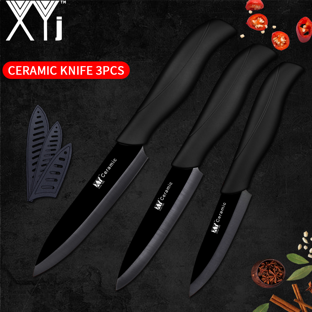 XYj Ceramic Knife 3 4 5 inch Kitchen Cooking Accessories Knife Set ABS TPR Handle Ceramic