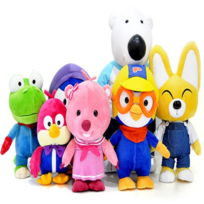7 개/몫 한국 pororo 작은 penguin 과 그의 친구 플러시 장난감 인형 부드러운 박제 동물 완구 어린이를위한 생일 선물-에서스터핑 & 플러쉬 동물부터 완구 & 취미 의  그룹 1
