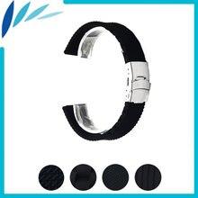 Ремешок силиконовый для часов резиновый черный браслет с застежкой