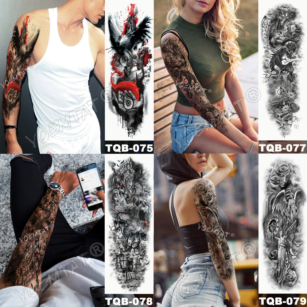 Tatuaje para brazo impermeable cráneo completo 9