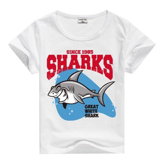 New Kids t shirts Cartoon Shark Print Boy Girl t shirt Casual ...