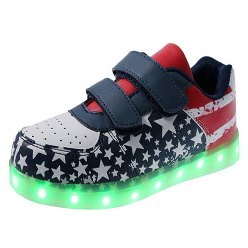 02e9fdd128 JIAN DIAN Brilhar Sapatos Enfant 25-35 Carregamento USB Led Crianças  Sapatos Acende Crianças Sapatos Casuais Meninos   meninas Tênis de Flash  Luminoso