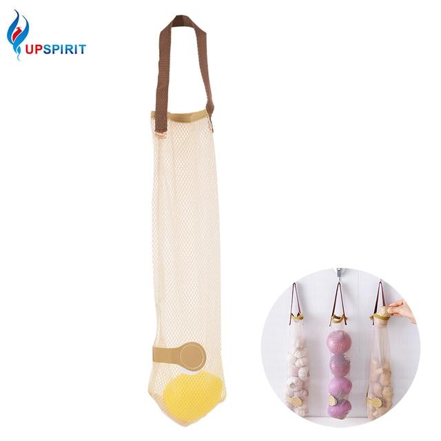 Upspirit 4pcs Kitchen Wall Hanging Type Storage Bags Breathable Mesh