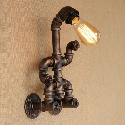 Loft Style Creative Retro Water Pipe Lamp Industrial Vintage Wall Light Fixtures For Edison Wall Sconce Indoor Lighting in Wall Lamps from Lights Lighting