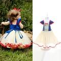 Estilo europeo y americano girls blancanieves veill gratuito vestido del tutú del vestido del verano del estilo princesa muchachas del vestido