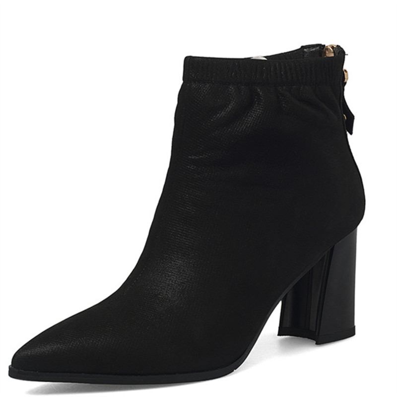 LOVEXSS Woman Autumn Winter Platform Ankle Boots Fashion Plus Size 33 43 Martin Boots Black Navy Blue High Heeled Shoes lovexss woman genuine leather ankle boots autumn winter high heeled shoes fashion plus size 32 43 black work chelsea boots