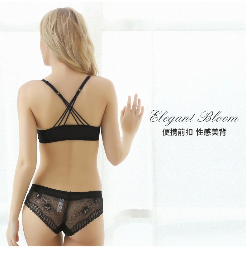 Fashion Sexy Women Bra Set Front Closure Underwear Bra Briefs Set Plus Size Brassiere Lingerie Push Up Bra And Panty Set BS345 2