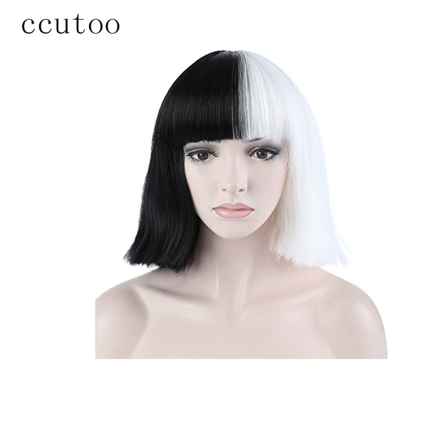 Ccutoo Sia Half Black And White 35cm Short Flat Bangs Synthetic Wig
