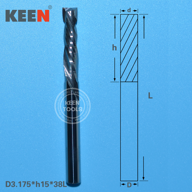 Tungsten Carbide Up And Down Cut 3 175 15mm Two Flutes Spiral Router