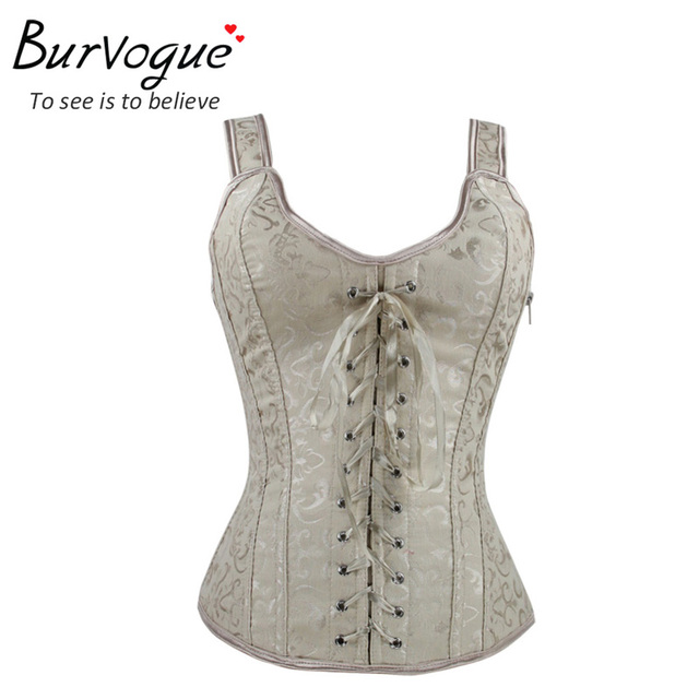 Burvogue new style beige embroidery corset top straps ribbon lolita corset bustier fashion corset top S-XL