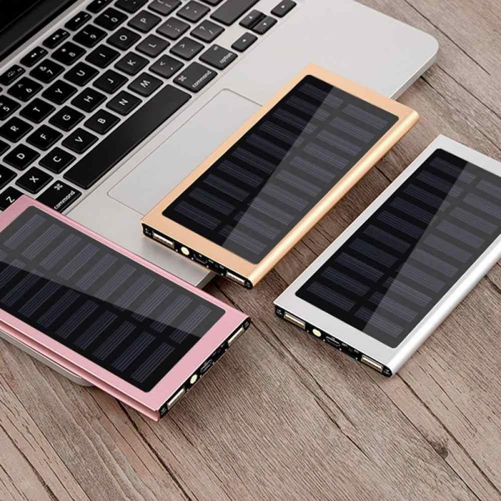 10000 mah batterie Portable solaire charge de batterie externe double USB Powerbank chargeur de téléphone Portable pour iPhone 8 XS max Xiaomi