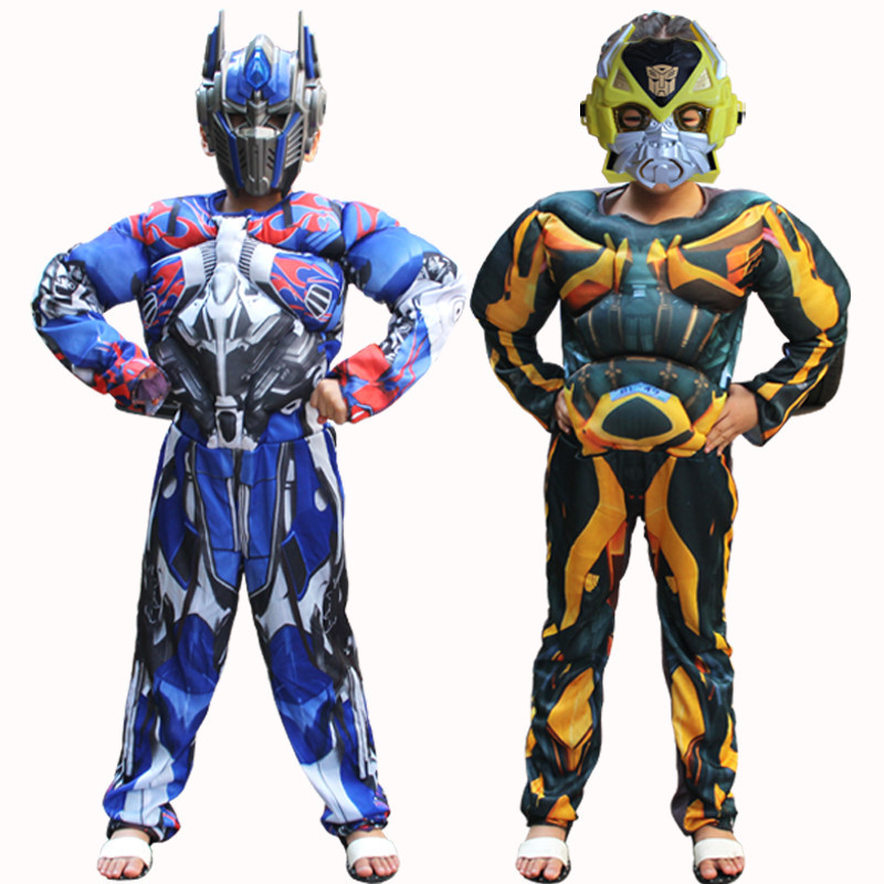 New Optimus Prime Bumblebee Superhero Full Body Suits Carnival Costumes Disfraces Muscle Cosplay Costume For Boys Children Kids