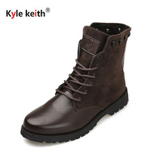 Kyle Keith Fashion Winter Warm Snow Boots Men PU Leather Leisure High Help Shoes Men Lace-up Ankle Boots Outdoor Shoes