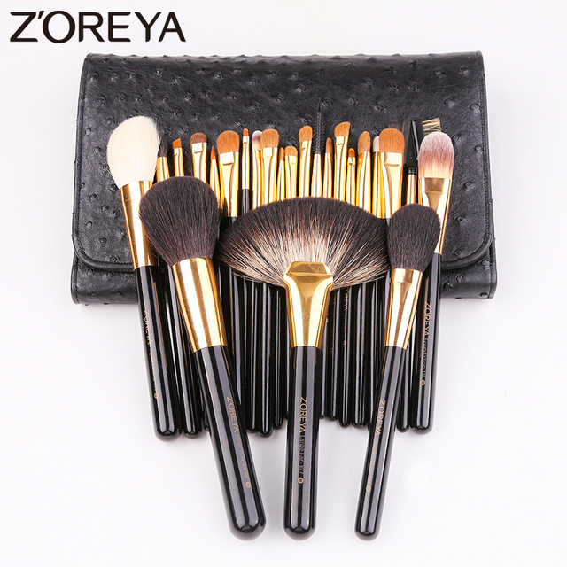 Zoreya 24Pcs Goat Hair Blending Makeup Brushes Professional Powder Foundation Eye Shadow Large Fan Brush Set Tool Animal Natural