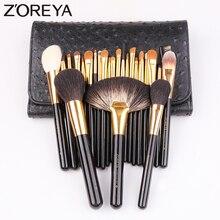 Zoreya 24Pcs 염소 헤어 블렌딩 메이크업 브러쉬 전문 파우더 파운데이션 아이 섀도우 대형 팬 브러쉬 세트 도구 동물 자연
