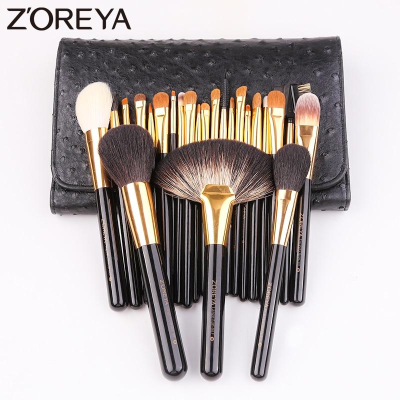 Zoreya Marca 24 pcs Pêlo de cabra Nylon Mistura Lip Pincéis de Maquiagem Em Pó Profissional Fundação Olho Sombra Pincel Grande Fã Conjunto