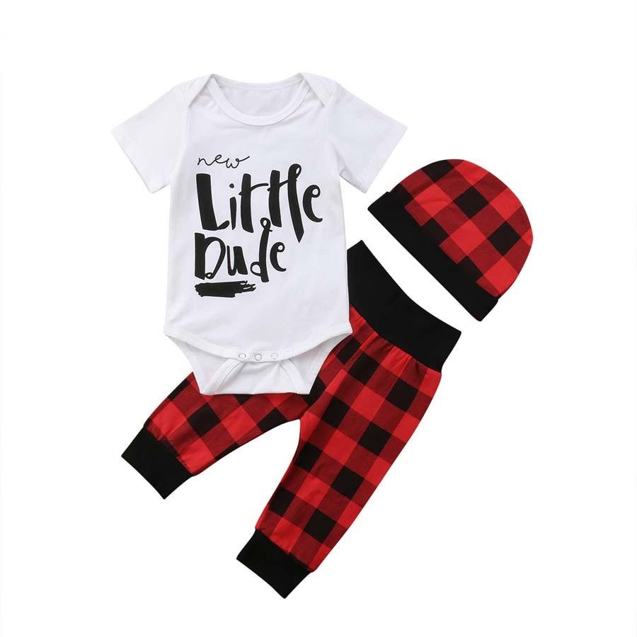3Pcs Cute Newborn Baby Boy Short Sleeve Pants Hat Bodysuit Sunsuit Outfits Kids Boys Plaid Clothes все цены