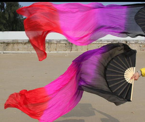 Image 5 - Hot Bán Cổ Điển 180 cm Múa Bụng Fan Mạng Che Mặt Màu Trắng Bạc Hà Dọc Gradient Nhuộm Vũ Công Thực Hành Fan Đối Với Phụ Nữ Cô Gái