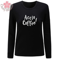 Cherry Blossom Women T Shirt O Neck Long Sleeve T Shirt Accio Coffee Letter Print Casual