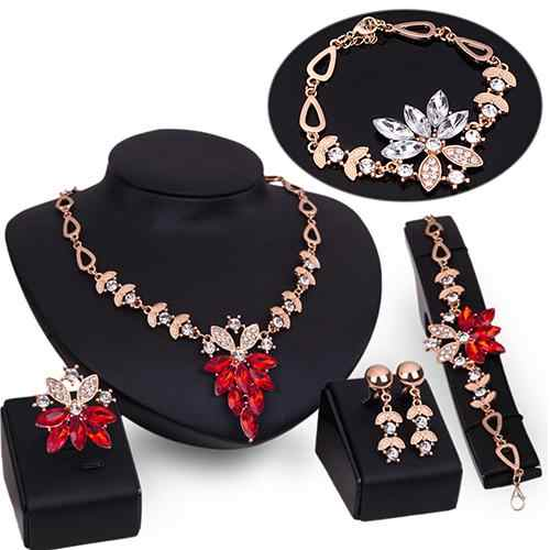 Women's charming Wedding Bracelet Necklace Jewelry Set Clear Crystal Statement Ring Earrings