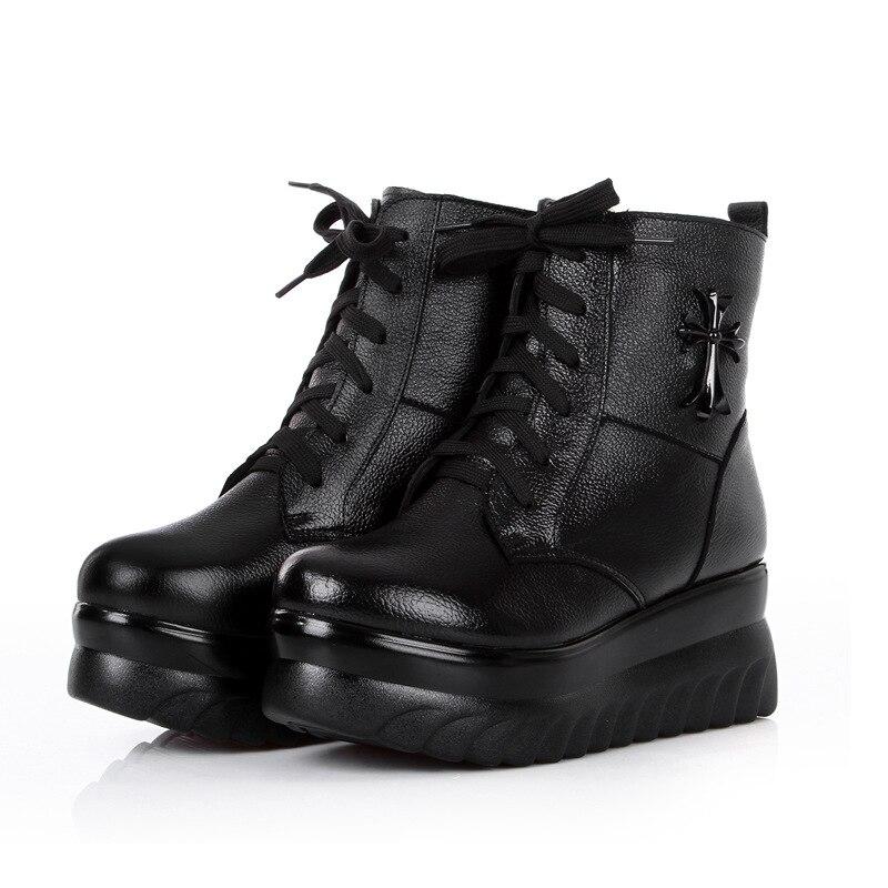 Mi Chaussures Naturel Épaisse Semelle Qualité Haute Cuir D'hiver Bottes fur Laine Véritable Wool Femmes mollet Hiver Boot De En fY7xaEq
