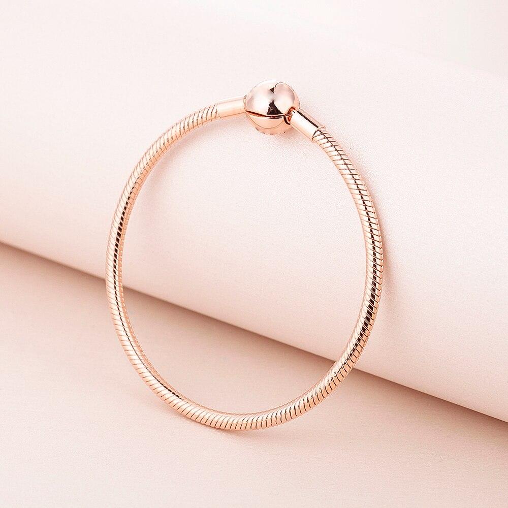 Pandulaso Signature Ronde Fermoir Serpent Ensemble de La Chaîne Rose Or Argent Bracelets pour Femmes Mode Argent 925 DIY Bracelet Bijoux