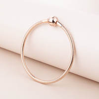 Pandulaso Signature Round Clasp Snake Chain Whole Rose Golden Silver Bracelets for Women Fashion Silver 925 DIY Bracelet Jewelry