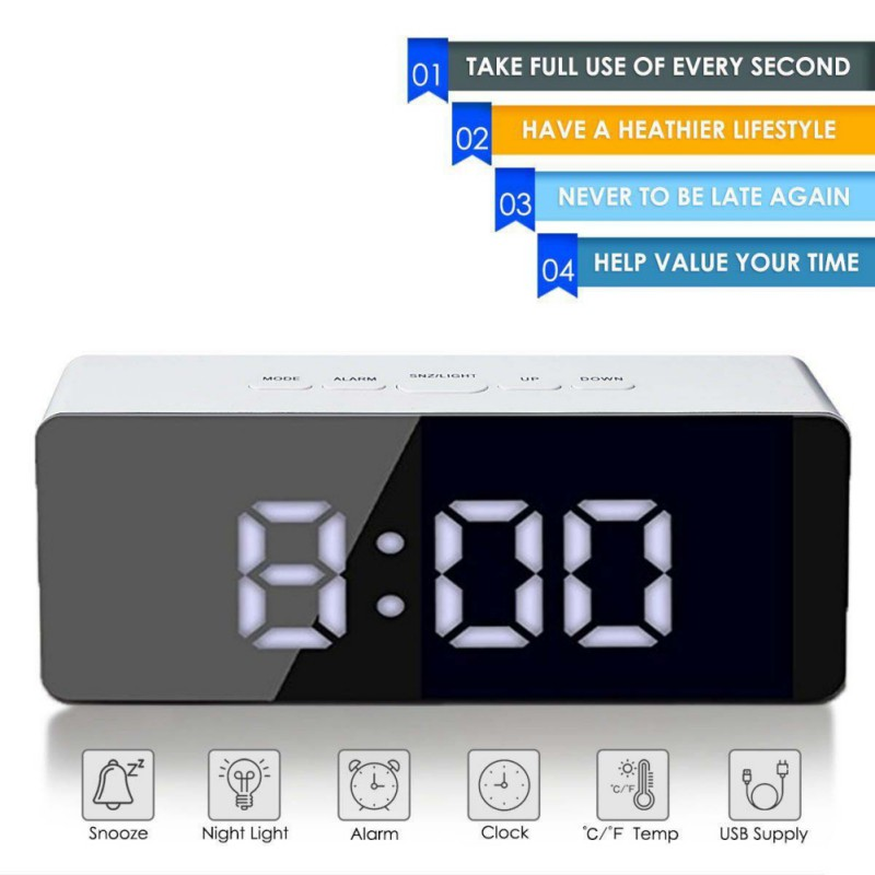 Hot sell Creative Mirror Alarm Multi-function LED Mirror Clock Cosmetic Clock Battery Plug-in Dual-use decoration