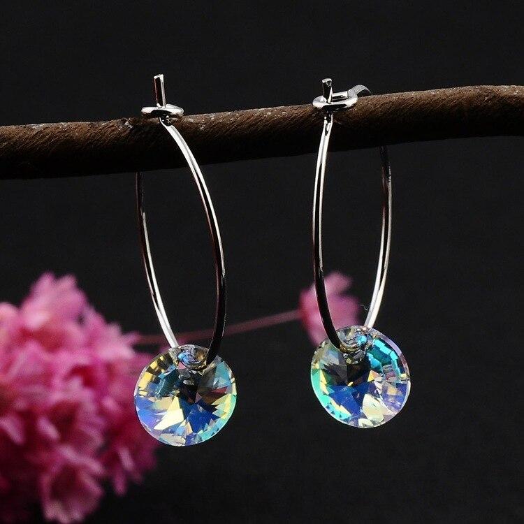 1 Paar Einfache Österreich Kristall Durchbohrte Ohrringe Temperament Beliebte Ohr Ringe Super Blitz Minimalistischen Ohrring Schmuck E462