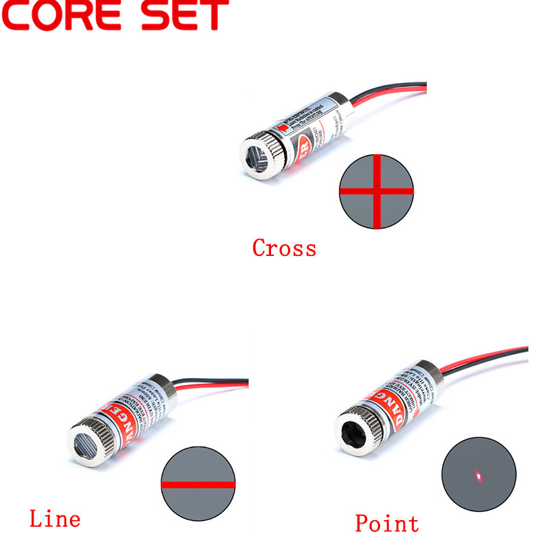 Cross Laser Module Head Glass Lens Focusable Gut Sa Line 650nm 5mW Red Point