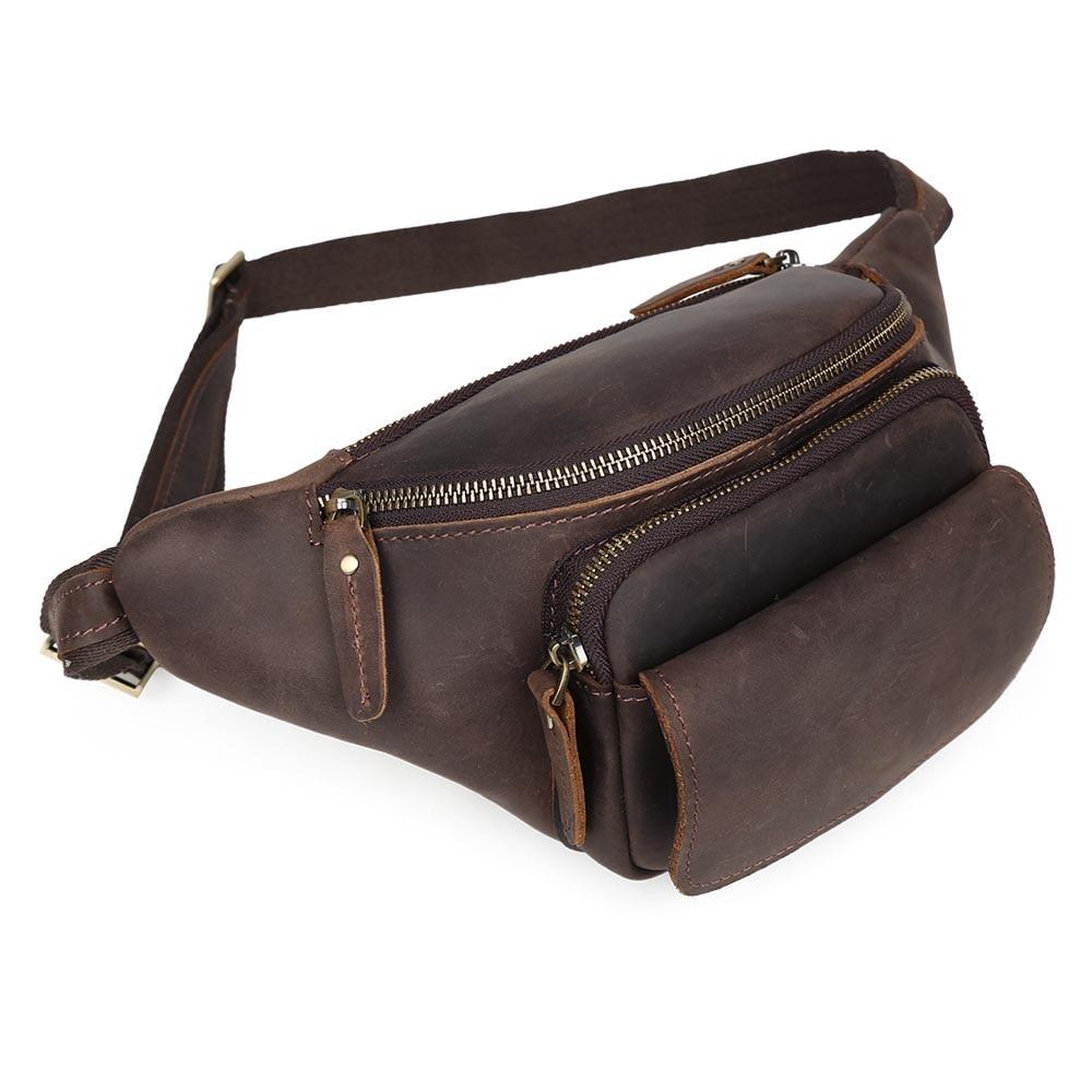 Фотография TIDING Genuine leather waist bag for men military waist pack brown bum bag 3107