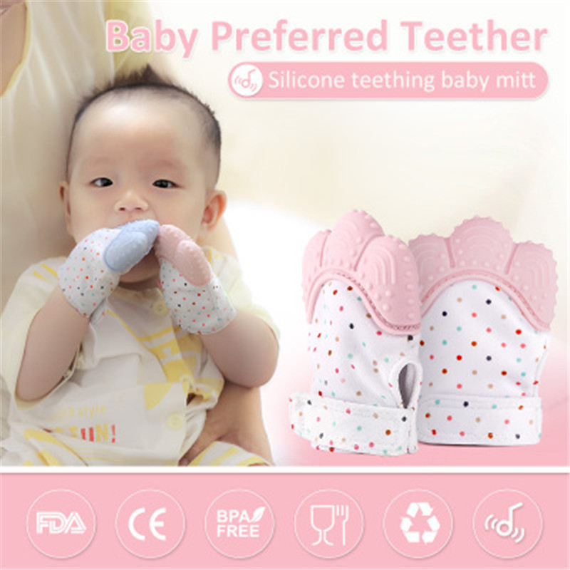 Hot Sale Baby Silicone Teether Baby Pacifier Glove Teething Chewable Newborn Nursing Teether Beads Infant BPA Pastel SGS
